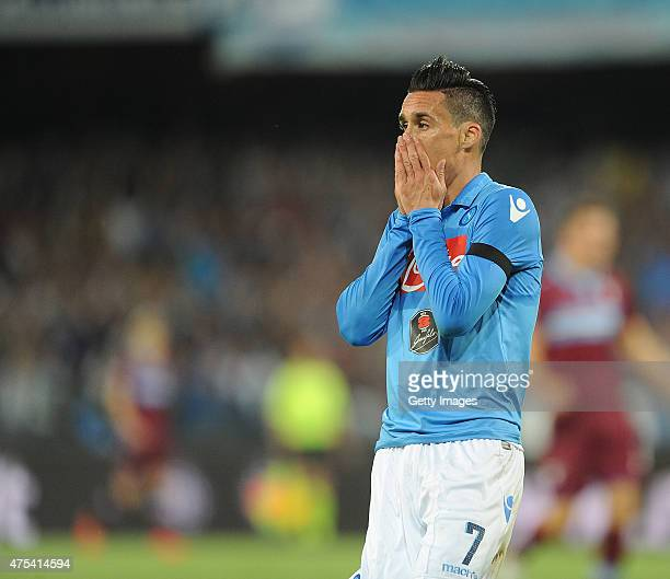 Napoli's player Jose Maria Callejon looks dejected during the Serie A match between SSC Napoli and SS Lazio at Stadio San Paolo on May 31 2015 in...