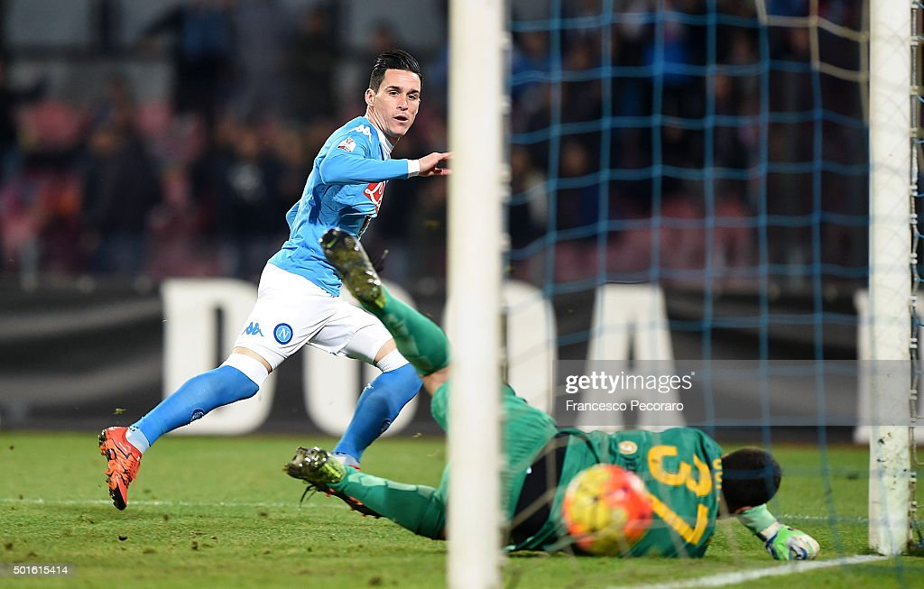 Napoli's player <a gi-track='captionPersonalityLinkClicked' href=/galleries/search?phrase=Jose+Maria+Callejon&family=editorial&specificpeople=6671079 ng-click='$event.stopPropagation()'>Jose Maria Callejon</a> scores the goal of 3-0 during the TIM Cup match between SSC Napoli and Hellas Verona FC at Stadio San Paolo on December 16, 2015 in Naples, Italy.