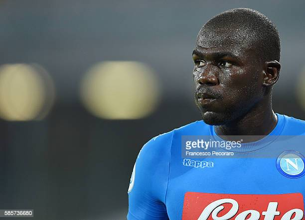 Napoli's player Kalidou Koulibaly looks during the preseason friendly match between SSC Napoli and OGC Nice at Stadio San Paolo on August 1 2016 in...