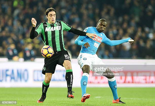 Napolis player Kalidou Koulibaly vies with US Sassuolo player Alessandro Matri during the Serie A match between SSC Napoli and US Sassuolo November...