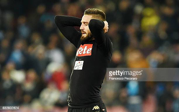 Napolis player Leonardo Pavoletti stands disappointed during the TIM Cup match between SSC Napoli and ACF Fiorentina at Stadio San Paolo on January...