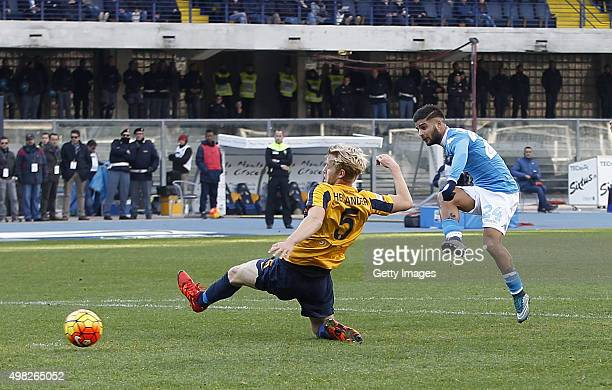 Napoli's player Lorenzo Insigne scores the goal of 10 during the Serie A match between Hellas Verona FC and SSC Napoli at Stadio MarcAntonio...