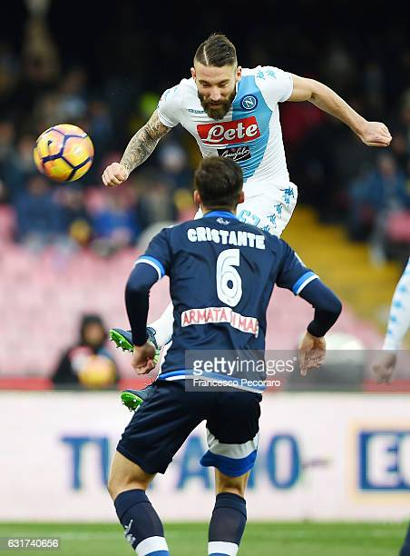 Napolis player Lorenzo Tonelli scores the 10 goal during the Serie A match between SSC Napoli and Pescara Calcio at Stadio San Paolo on January 15...