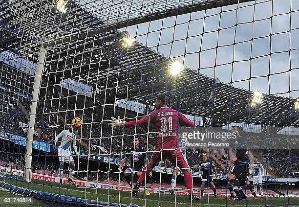 Napoli's player Lorenzo Tonelli scores the 10 goal during the Serie A match between SSC Napoli and Pescara Calcio at Stadio San Paolo on January 15...