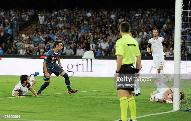 Napoli's player Manolo Gabbiadini scores the goal of 21 during the Serie A match between SSC Napoli AC Cesena at Stadio San Paolo on May 18 2015 in...