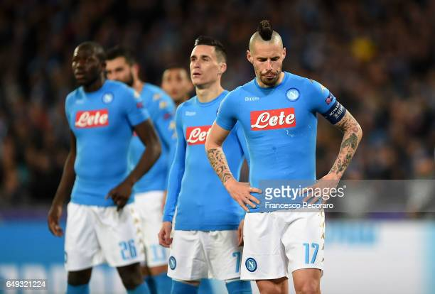 Napolis player Marek Hamsik shows his disappointment during the UEFA Champions League Round of 16 second leg match between SSC Napoli and Real Madrid...