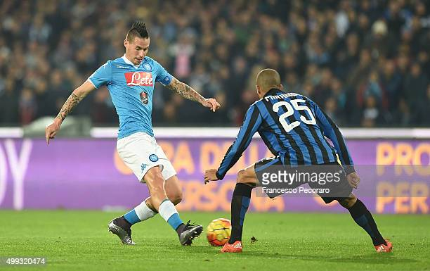 Napoli's player Marek Hamsik vies with FC Internazionale Milano player Miranda during the Serie A match between SSC Napoli and FC Internazionale...