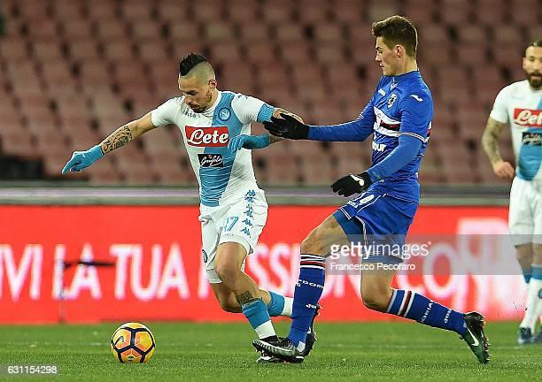 Napolis player Marek Hamsik vies with UC Sampdoria player Patrik Schick during the Serie A match between SSC Napoli and UC Sampdoria at Stadio San...