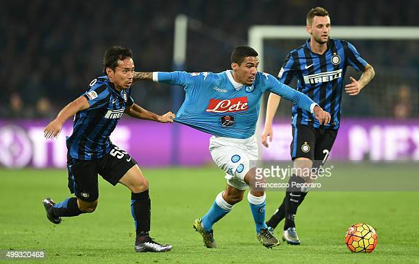 Napoli's player Marques Loureiro Allan vies with FC Internazionale Milano player Yuto Nagatomo during the Serie A match between SSC Napoli and FC...
