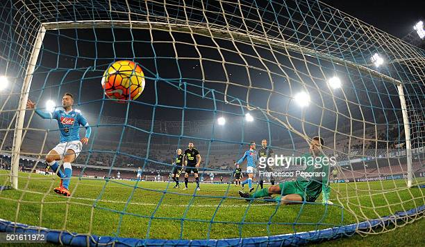 Napoli's player Omar El Kaddouri scores the goal of 10 during the TIM Cup match between SSC Napoli and Hellas Verona FC at Stadio San Paolo on...
