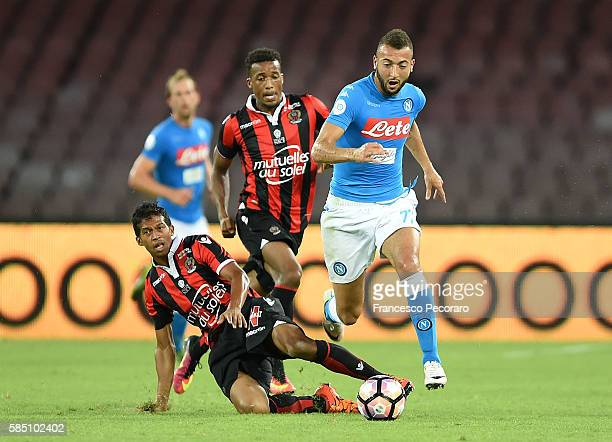 Napoli's player Omar El Kaddouri vies with OGC Nice player Albert Rafetraniaina during the preseason friendly match between SSC Napoli and OGC Nice...