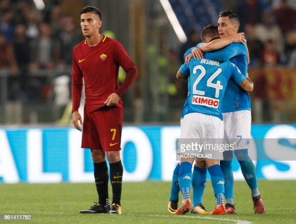 OLIMPICO ROME LAZIO ITALY Napoli's players celebrate during the Italian Serie A football match AS Roma vs SSc Napoli at the Olimpico Stadium SSC...