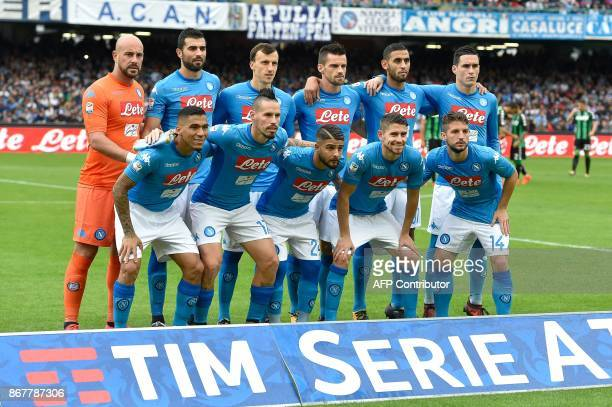 Napoli's players Napoli's goalkeeper from Spain Pepe Reina Napoli's defender from Spain Raul Albiol Napoli's defender from Romania Vlad Iulian...