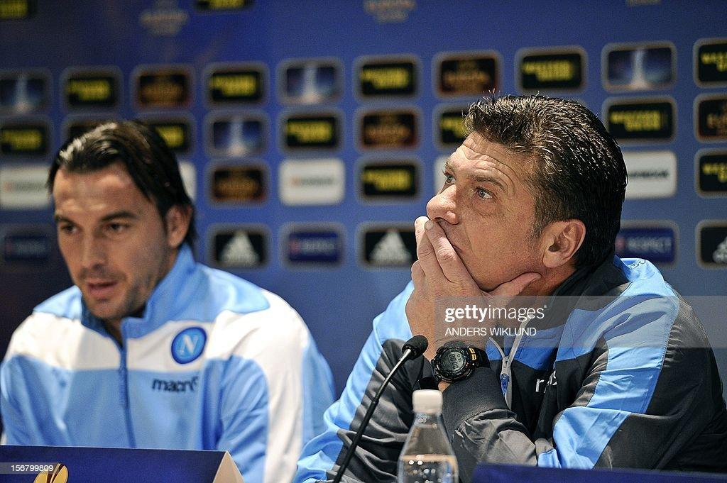 Napoli's Salvatori Aronica and coach Walter Mazzari address a press conference at Rasunda Stadium in Stockholm, Sweden, on November 21, 2012, the eve of the UEFA Europa League football match AIK Solna vs SSC Napoli.