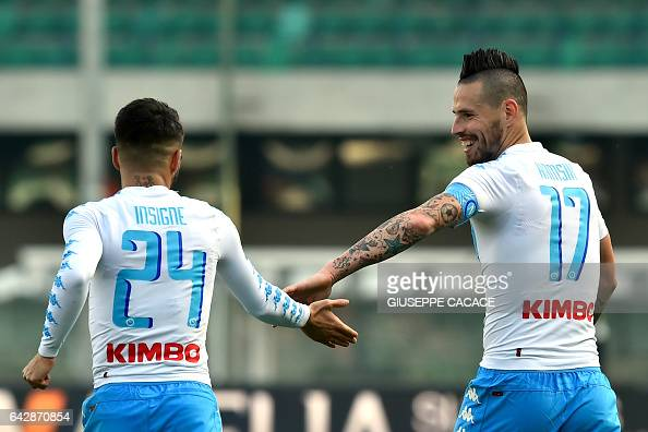 Napoli's Slovakian midfielder Marek Hamsik and his teammate Italian midfielder Lorenzo Insigne celebrate after scoring a goal during the Italian...