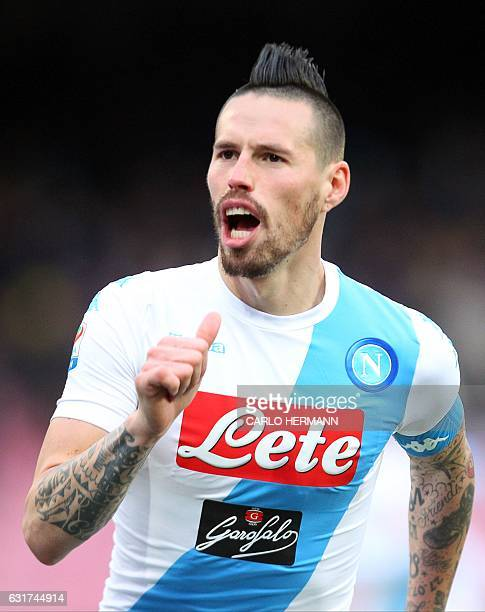 Napoli's Slovakian midfielder Marek Hamsik celebrates after scoring a goal during the Italian Serie A football match between SSC Napoli and Delfino...