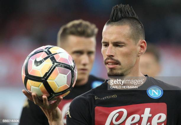 Napoli's Slovakian midfielder Marek Hamsik looks at the ball before the Italian Serie A football match SSC Napoli vs Fiorentina ACF on May 20 2017 at...