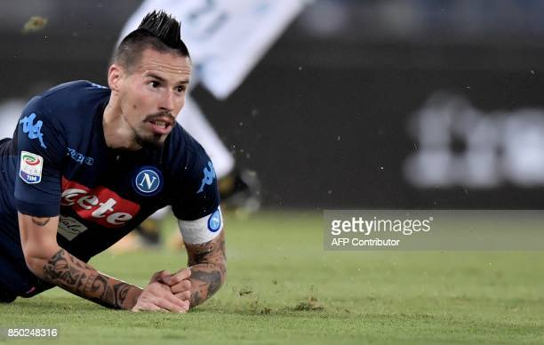 Napoli's Slovakian midfielder Marek Hamsik reacts during the Serie A football match between Lazio and Napoli at Olympic Stadium in Rome on September...