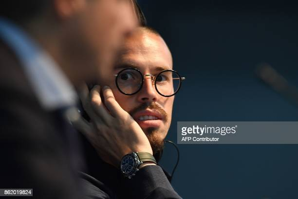 Napoli's Slovakian midfielder Marek Hamsik speaks at a press conference in Manchester north west England on October 16 on the eve of their UEFA...