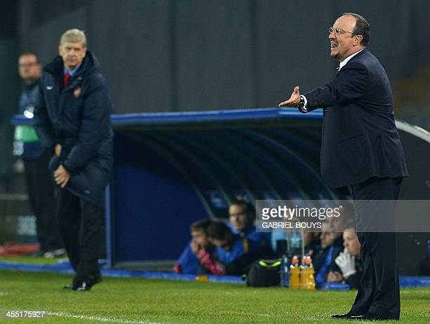 Napoli's Spanish coach Rafael Benitez reacts during the UEFA Champion's League group F football match between SSC Napoli and Arsenal FC at the San...