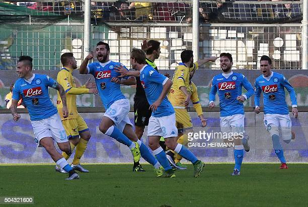 Napoli's Spanish defender Raul Albiol celebrates after scoring with teammates during the Italian Serie A football match Frosinone Calcio vs SSC...