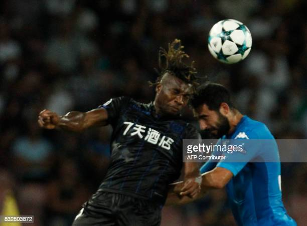 Napoli's Spanish defender Raul Albiol fights for the ball with Nice's French forward Allan SaintMaximin during the UEFA Champions League Play Off...
