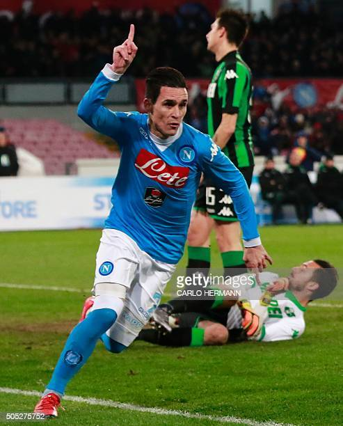 Napoli's Spanish forward Jose Maria Callejon celebrates after scoring a goal during the Italian Serie A football match Napoli and Sassuolo Calcio at...
