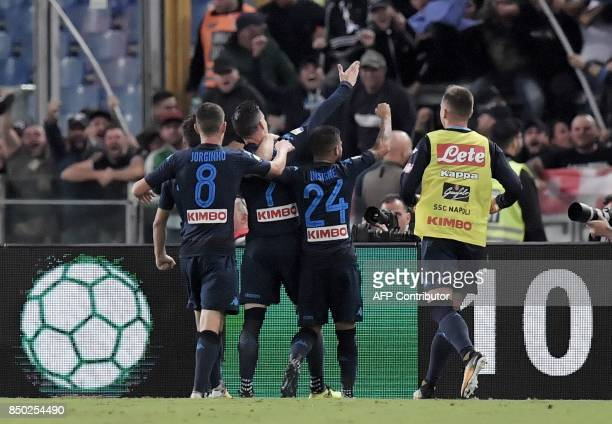 Napoli's Spanish forward Jose Maria Callejon celebrates after scoring during the Serie A football match between Lazio and Napoli at Olympic Stadium...