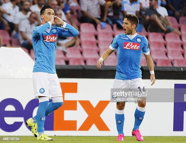 Napoli's Spanish forward Jose Maria Callejon celebrates next to his teammate Napoli's Belgian forward Dries Mertens after scoring during the UEFA...