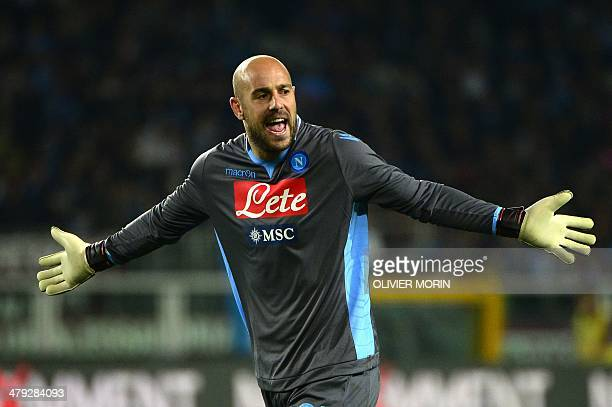Napoli's Spanish goalkeeper Jose Manuel Reina reacts during the Italian Serie A football matchTorino FC vs Naples on March 17 2014 at Olympic stadium...