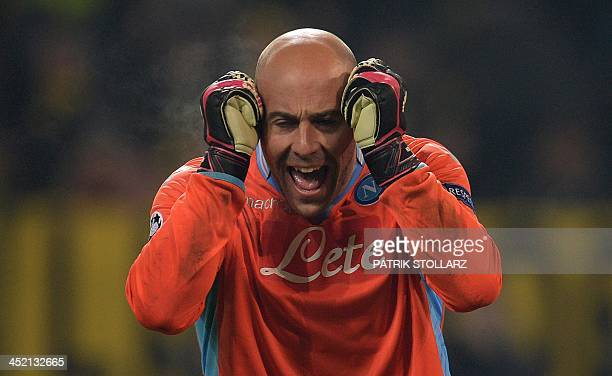 Napoli's Spanish goalkeeper Jose Manuel Reina reacts during the UEFA Champions League Group F football match Borussia Dortmund vs SSC Napoli in...