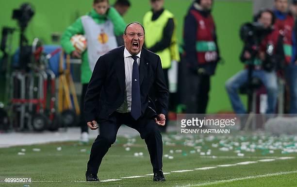 Napoli's Spanish head coach Rafael Benitez reacts during the UEFA Europa League firstleg quarterfinal football match VfL Wolfsburg v SSC Napoli in...