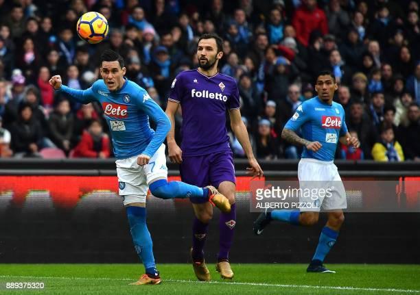 Napoli's Spanish striker Jose Maria Callejon controls the ball during the Italian Serie A football match Napoli vs Fiorentina on December 10 2017 at...