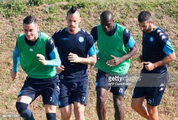 Napoli's Spanish striker Jose Maria Callejon Napoli's Slovakian midfielder Marek Hamsik Napoli's French defender Kalidou Koulibaly and Napoli's...