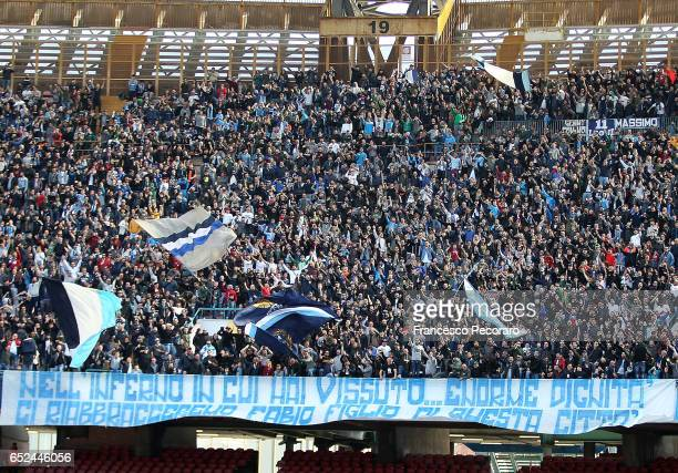 Napolis supporters cheer their team during the Serie A match between SSC Napoli and FC Crotone at Stadio San Paolo on March 12 2017 in Naples Italy