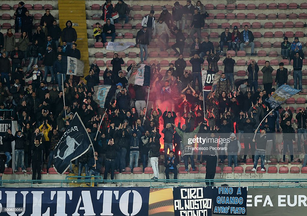 Napoli's supporters cheer their team during the UEFA Europa League Group D match between SSC Napoli and Legia Warszawa on December 10 2015 in Naples...