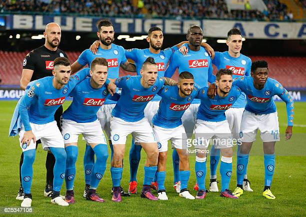 Napoli's team players Napoli's goalkeeper from Spain Pepe Reina Napoli's defender from Spain Raul Albiol Napoli's defender from Algeria Faouzi...
