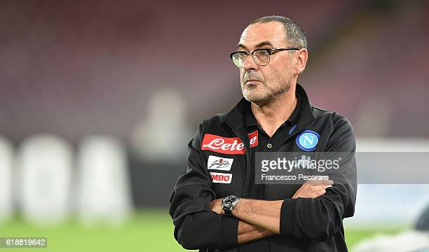 Napoli'u0092s coach Maurizio Sarri looks during the Serie A match between SSC Napoli and Empoli FC at Stadio San Paolo on October 26 2016 in Naples...
