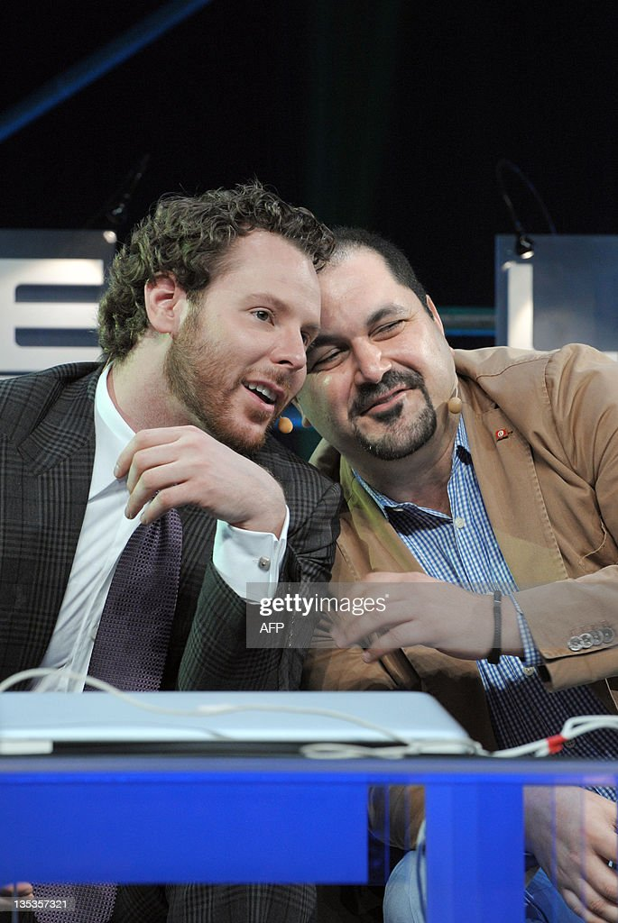 Napster co-founder, Sean Parker, General Partner of Founders Fund (L) listens to Menlo Ventures Managing Director Shervin Pishevar (R) during a session at LeWeb 11 event in Saint-Denis, suburbs of Paris, on December 9, 2011. Top industry entrepreneurs, executives, investors, senior press and bloggers gathered during three days to explore the key issues and opportunities in the web marketplace. AFP PHOTO ERIC PIERMONT
