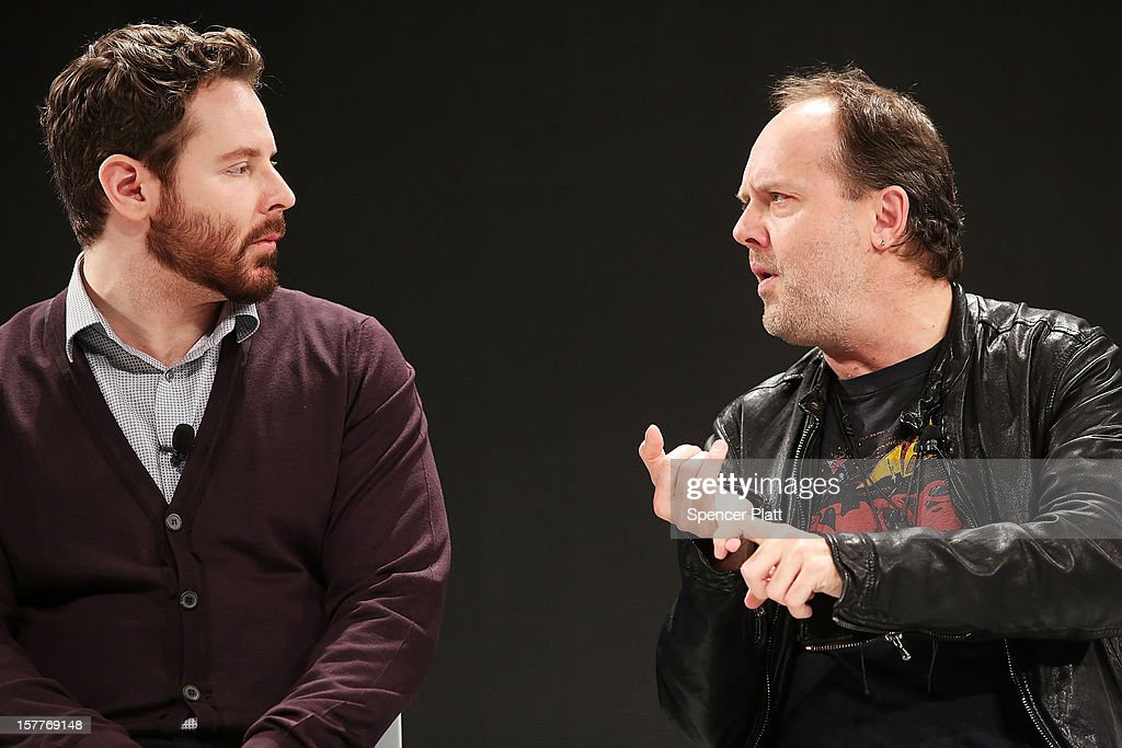 Napster co-founder Sean Parker (L) speaks with Metallica drummer Lars Ulrich at a Spotify event on December 6, 2012 in New York City. Metallica recently announced that their music will now be available on the music streaming site. Spotify's founder and CEO Daniel Elk, who started the Swedish music streaming business in 2006, introduced a variety of new additions to the popular music sight. Elk also announced that Spotify now has 5 million paid subscribers, 20 million active users and has paid out a half billion dollars to artist's record labels.
