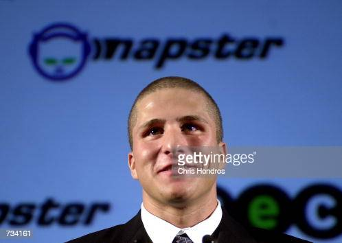Napster founder Shawn Fanning appears at a press conference October 31 2000 in New York Bertelsmann eCommerce Group announced it is teaming with the...