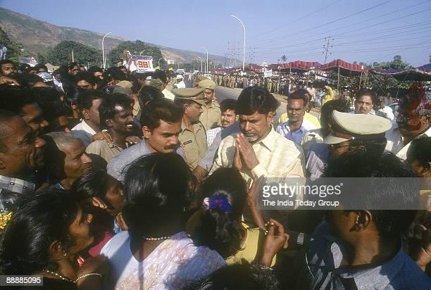 Nara Chandrababu Naidu Chief Minister of Andhra Pradesh meting supporters at a meeting