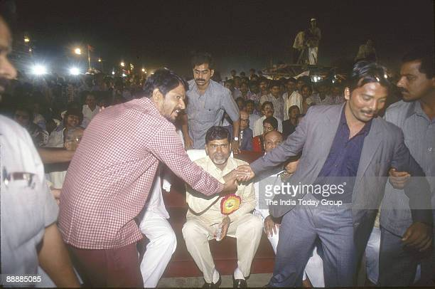 Nara Chandrababu Naidu Chief Minister of Andhra Pradesh with his Supporters sitting in an Auditorium