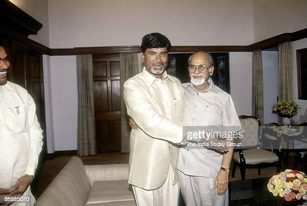 Nara Chandrababu Naidu Chief Minister of Andhra Pradesh with Inder Kumar Gujral Former Prime Minister