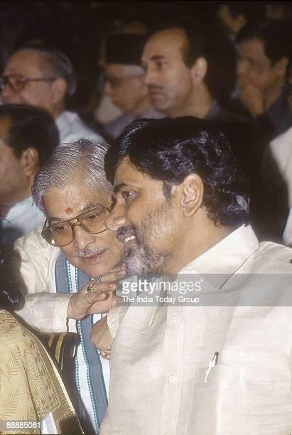 Nara Chandrababu Naidu Chief Minister of Andhra Pradesh with Murli Manohar Joshi at a meeting