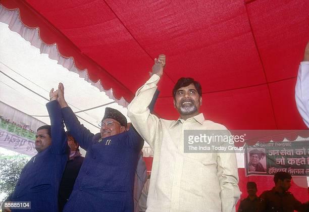 Nara Chandrababu Naidu Chief Minister of Andhra Pradesh with Om Prakash Chautala and other leaders at public meeting