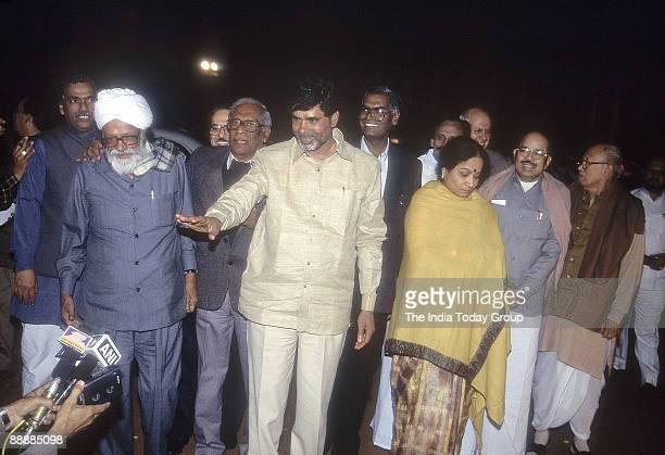 Nara Chandrababu Naidu Chief Minister of Andhra Pradesh with Harkishan Singh Surjit and other Left Front Leaders avoiding Media