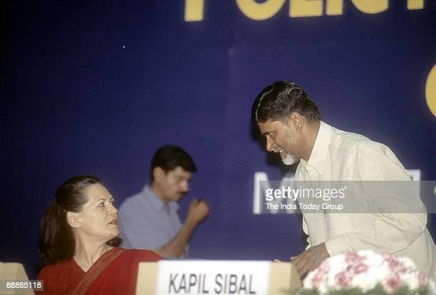Nara Chandrababu Naidu Chief Minister of Andhra Pradesh with Sonia Gandhi at a function