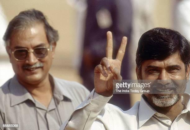 Nara Chandrababu Naidu Chief Minister of Andhra Pradesh with Victory sign