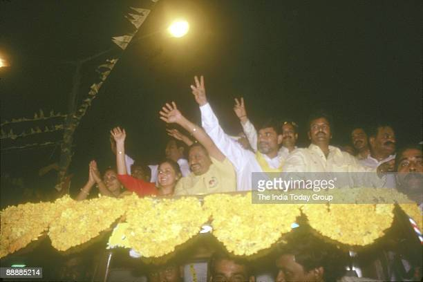 Nara Chandrababu Naidu President of the party with party leaders during Election Campaign